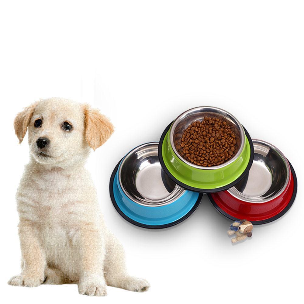 Pet Dog Bowl Stainless Steel Pet Food Feeder for Small/ Medium Dogs/Cats Dog Drinking Water Feeders for Puppy Pet Supplies image