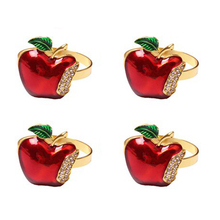Napkin Rings Set of 4, Red Apple Napkin Ring for Wedding, Dinner Party, Banquet, Serviette for Christmas, Birthday