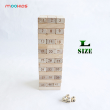 цена на Mookids Yard Game Education 48 Pieces Number Toppling Timbers Wooden Blocks Game Stacking Blocks Stacking Tower Fun Outdoor Lawn