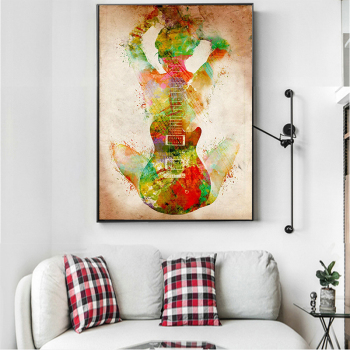 Abstract Figure With Guitar Painting Printed on Canvas 2