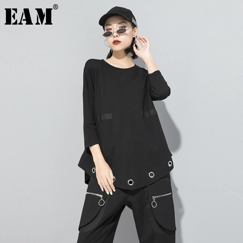 [EAM] Women Hollow Out Split Asymmetrical T-shirt New Round Neck Three Quarter Sleeve Fashion Tide  Spring Autumn 2020 1S2650