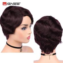 Wignee 6 inch 99J Short Human Hair Wig For Women Remy Brazilian Glueless Loose Wave Curly DropShipping