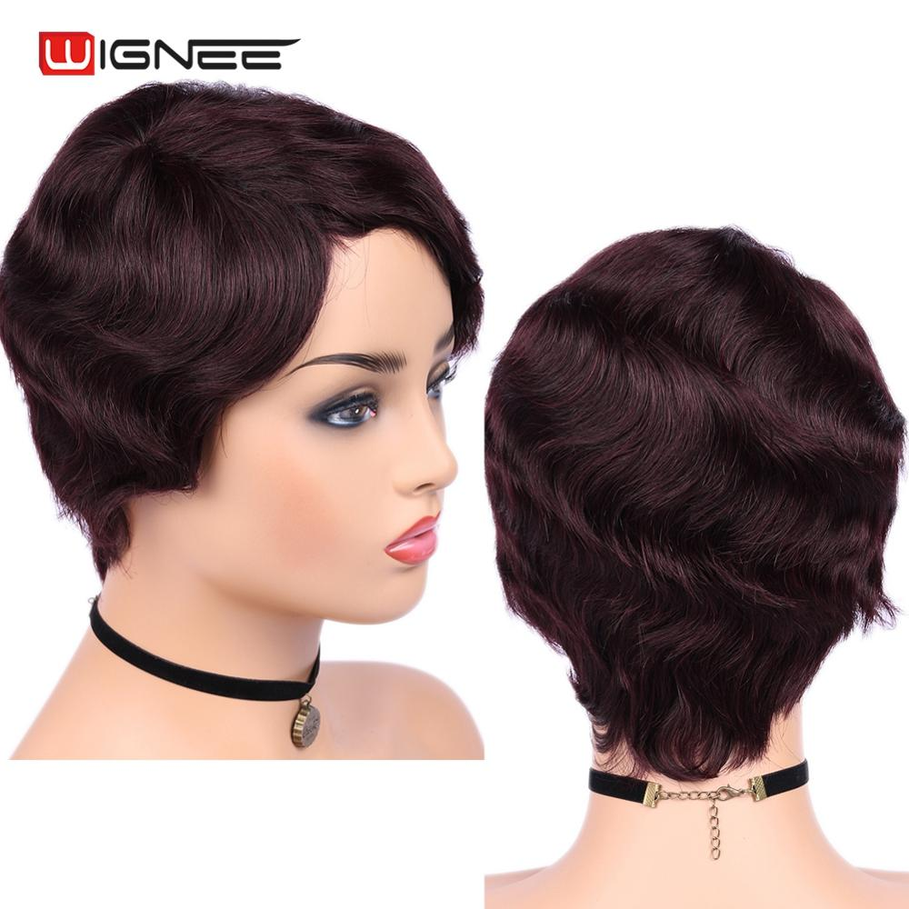 Wignee 6 Inch 99J Short Human Hair Wigs For Black/White Women Remy Brazilian Glueless Hair Loose Wave Short Hair Curly Human Wig