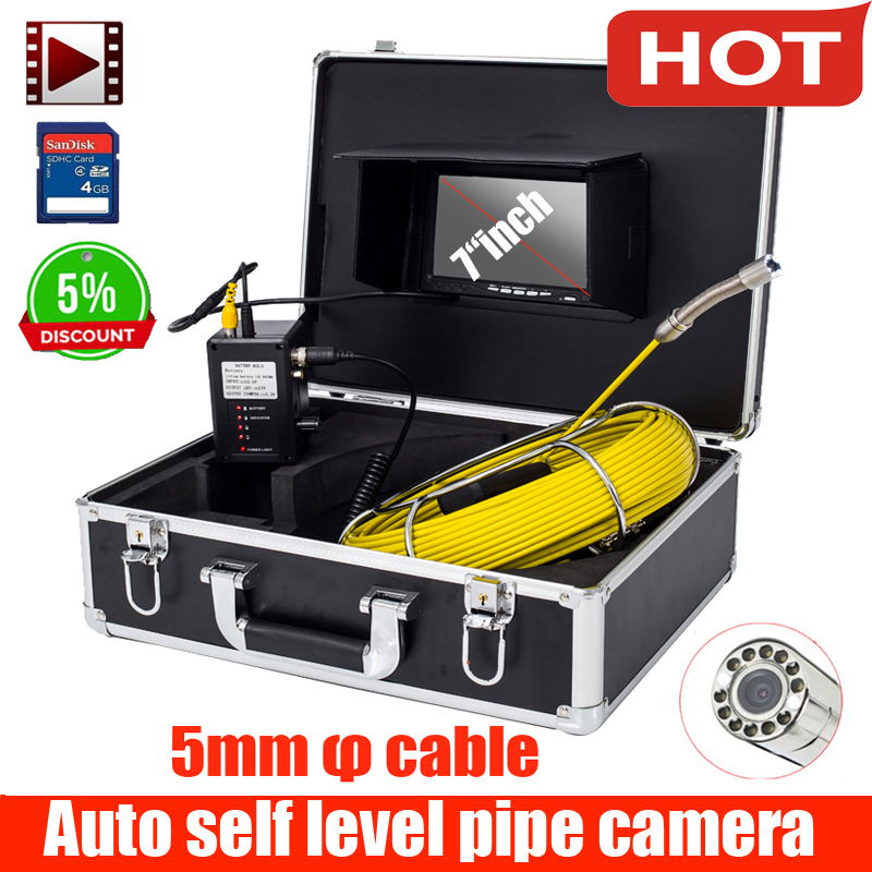 7inch Pipe Sewer Drain Underground Plumbing Inspection Camera Meter Counter Auto Self Balancing 30mm Camera Head DVR Self Level