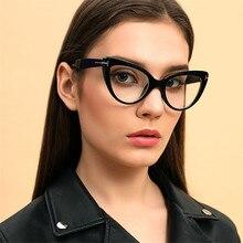 Vazrobe Thick Cat Eye Glasses Women Eyeglasses Frames Woman Clear Lens Points for Female Vintage Catseye Nerd