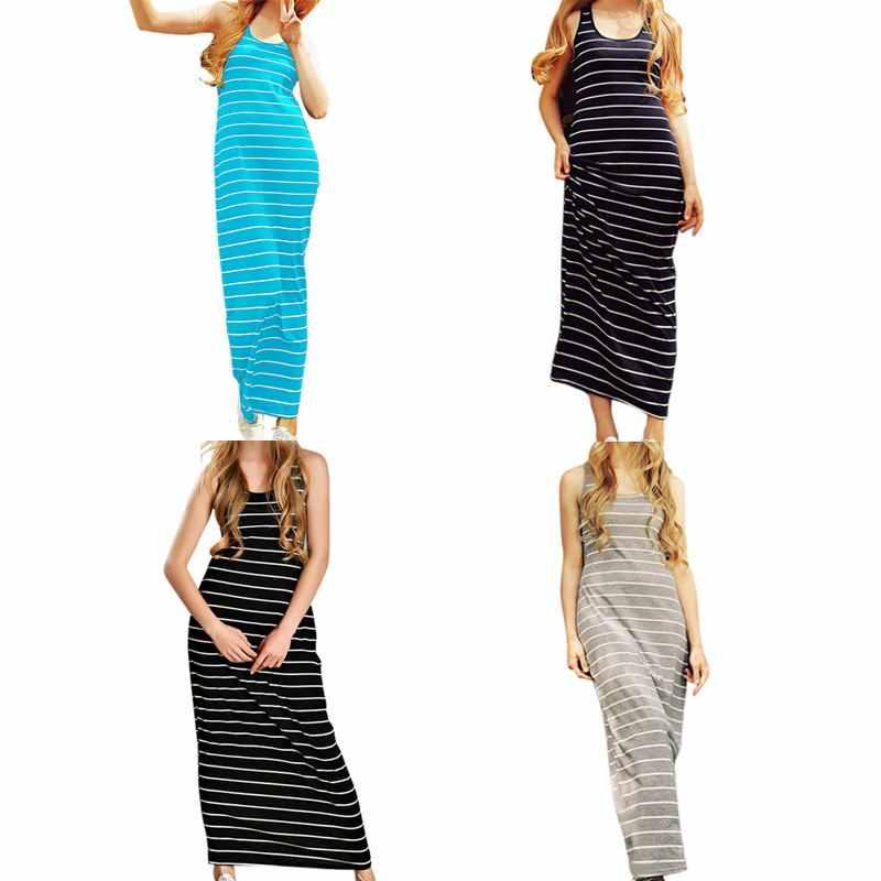 סקסי נשים קיץ Boho ארוך מקסי שמלת חוף שרוולים טנק שמלות בתוספת גודל פסים כותנה Femme Vestidos אופנה