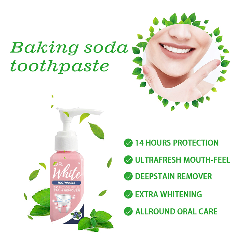 Blueberry Fruity Whitening Toothpaste Fluoride-Free Intensive Stain Removal Fight Bleeding Fresh Baking Soda