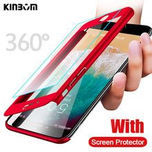 KINBOM 360  Degree Full Cover Case For iphone Xr IPhone 7 8 plus X XS MAX Protective With Tempered Glass