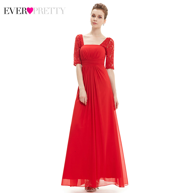 Lace Evening Dresses Ever Pretty EP08038 A-Line Square Collar  Ruched Elegant Formal Dresses Evening Gowns Abiye Gece Elbisesi