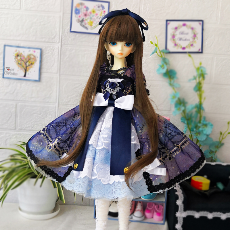 1/4 1/3 Bjd Doll Dress + Necklace + Hairband For 1/3 1/4 BJD Doll Accessories Doll Clothes Only Dress
