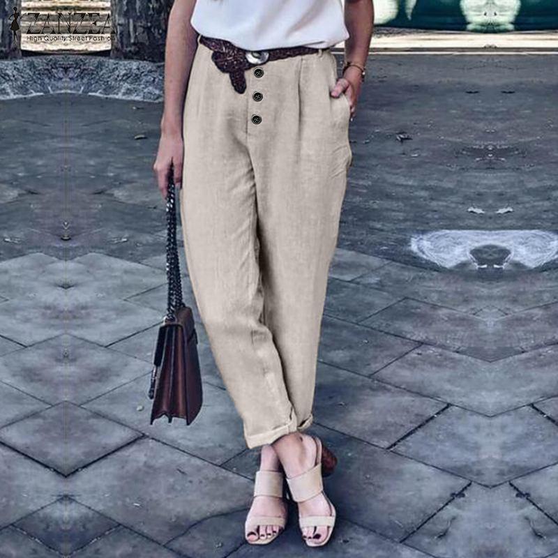 Casual Harem Pants Women's Cotton Trousers 2020 ZANZEA Elegant Button Long Turnip Female Mid Wasit Pantalons Plus Size Palazzo