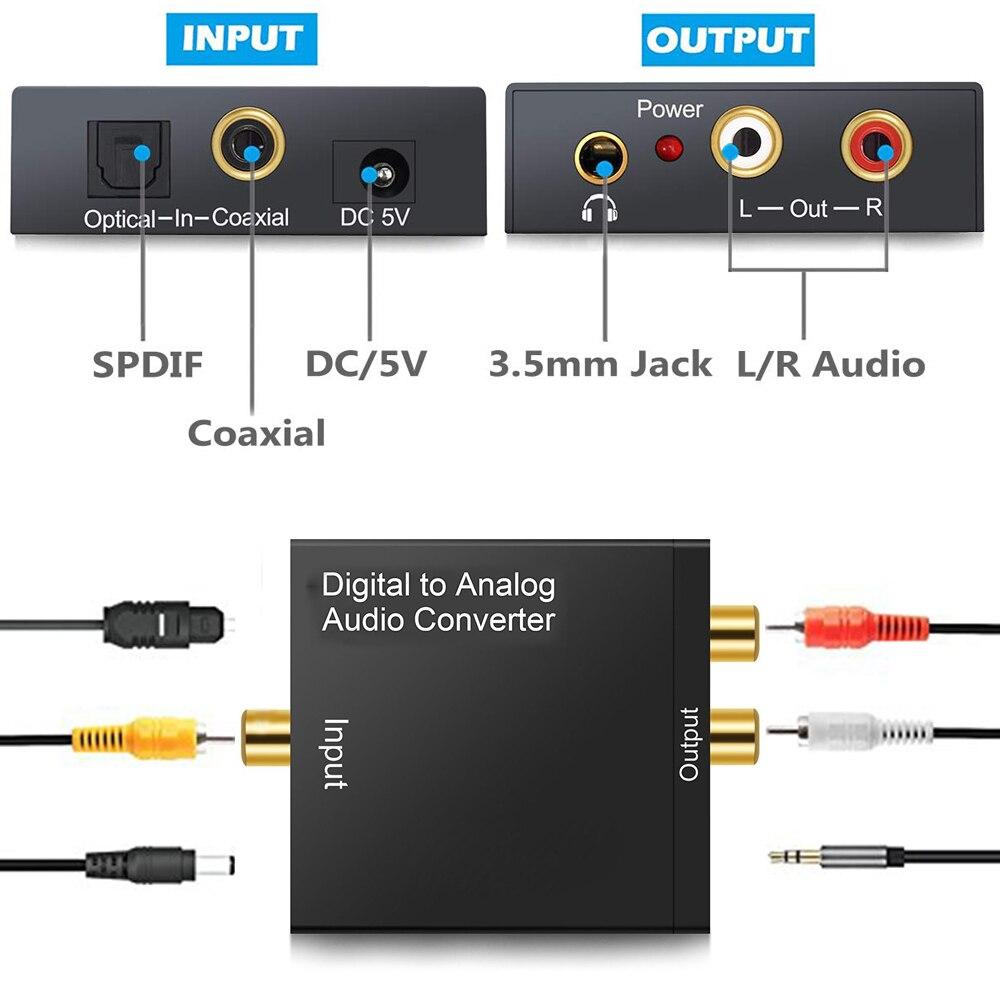 Convertisseur Audio numérique à analogique 3.5mm amplificateur décodeur Fiber optique Signal Coaxial vers adaptateur Audio stéréo analogique