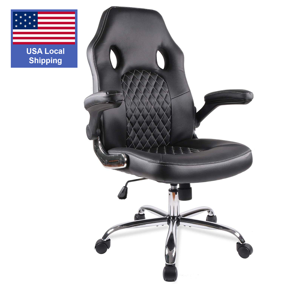 Gaming office chair Task Swivel Executive Leather Gaming Chairs High Back with Padded Seat Armrests and Rolling Casters 1