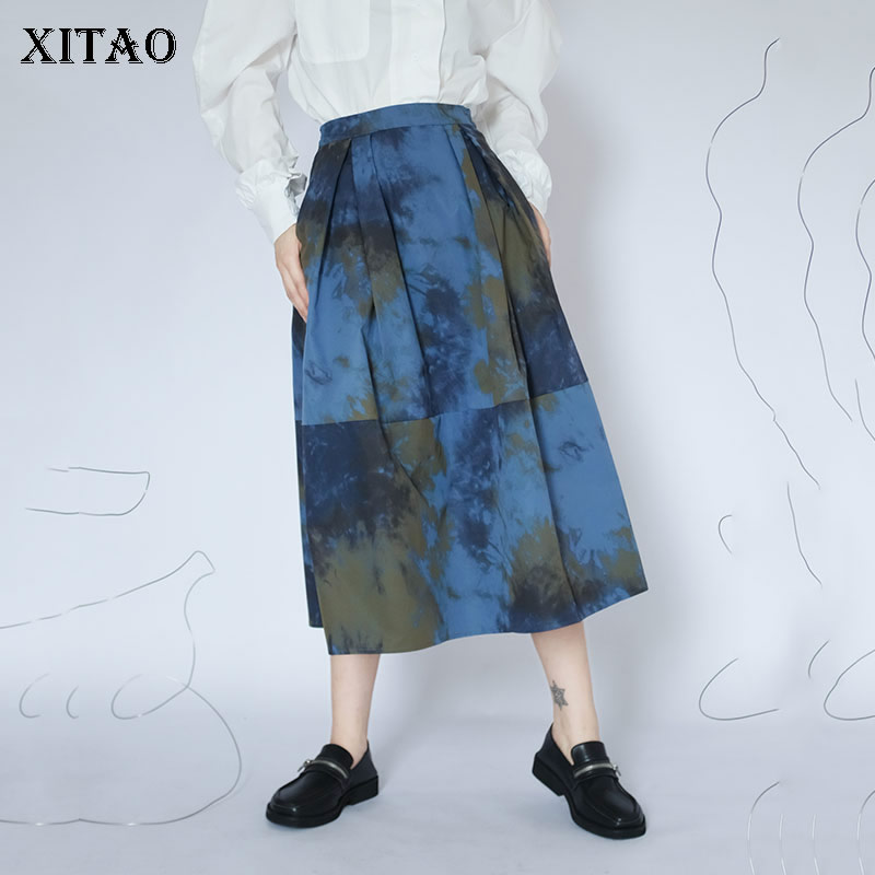 XITAO Blau Druck Rock Frauen Lose Mode Elegante Alle Spiel Koreanischen Stil 2020 Neue Herbst Hohe Taille Rock Göttin Fan ZP3019