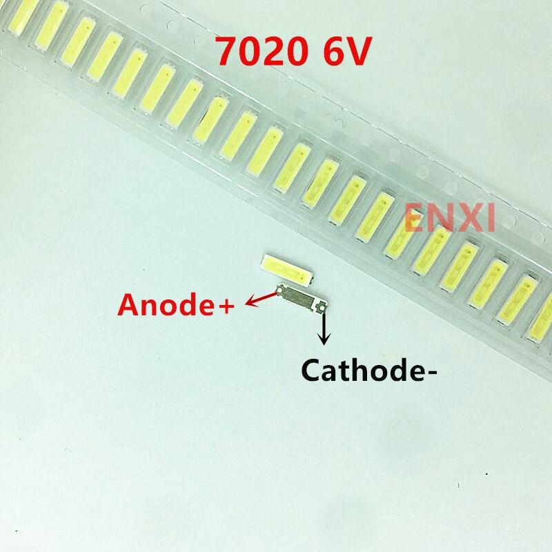 50/100/200/500PCS Original For  LG Innotek 7020 6V SMD LED For LCD Backlight Cool White Led Lamp Beads