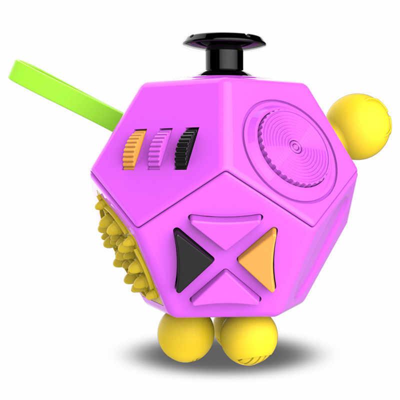 EDC Tangan untuk Autism ADHD Kecemasan Relief Fokus Anak-anak 12 Sisi Anti-Stres Sihir Stres Cube Mainan