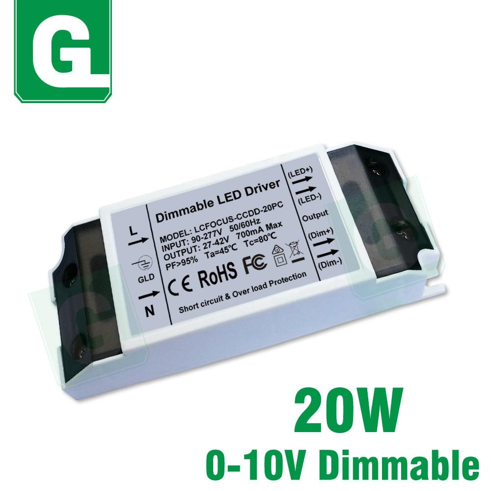 20 Вт регулируемый светодиодный трансформатор 0 10 в затемнение Трансформаторы освещения 700мА 27 42 в источник питания для 20 Вт ватт лампа