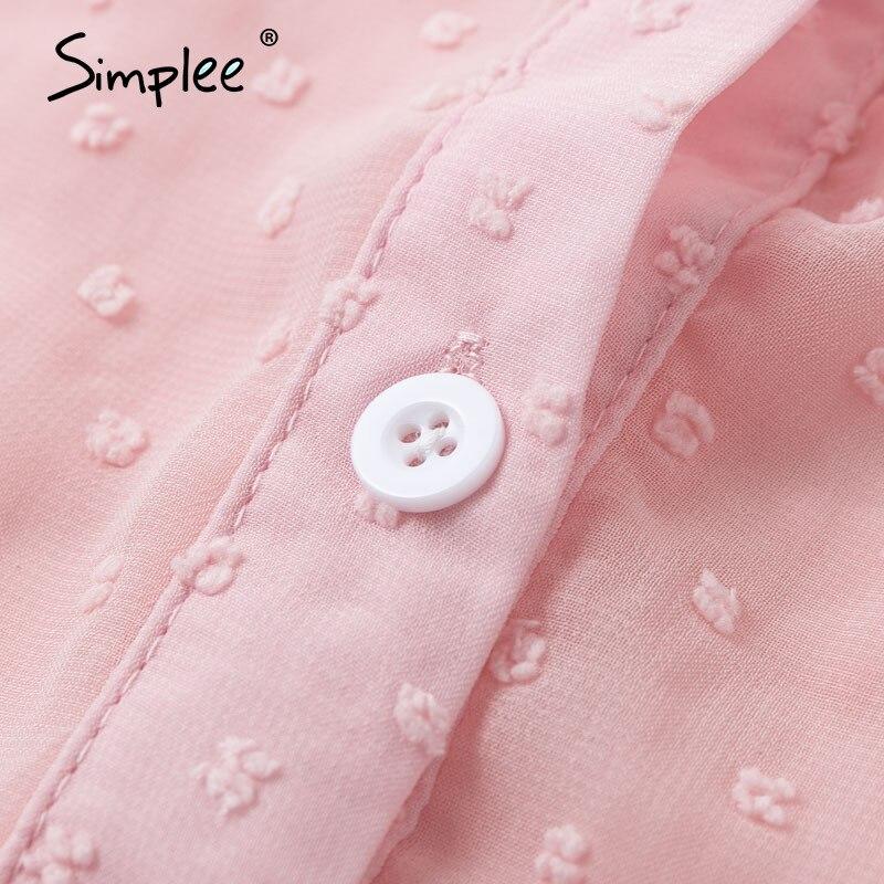 Image 5 - Simplee Sexy rose léopard femmes blouse chemises décontracté bureau dame travail porter hauts printemps chic blanc à manches longues blouses chemises hautBlouses & Chemises   -