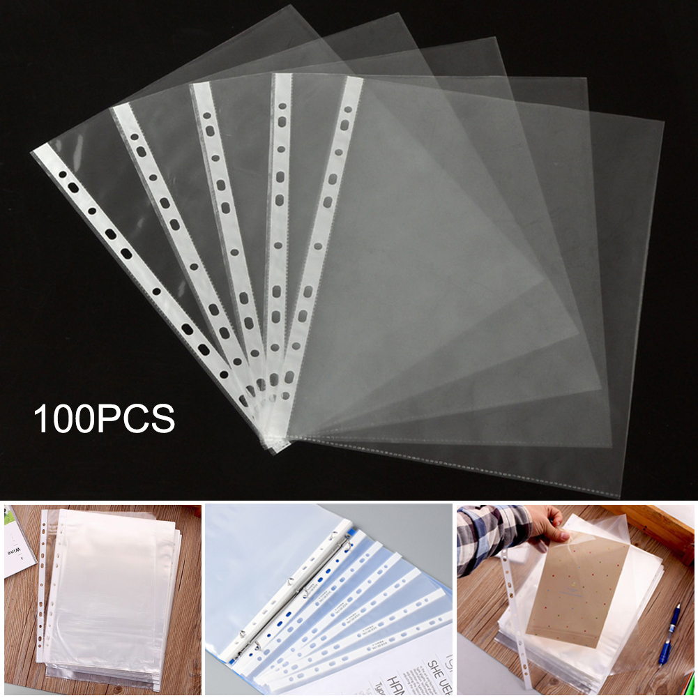 100Pcs/Set  A4 Plastic Punched Pockets Folders Filing 11 Holes Loose Leaf Documents Sheet Protectors Transparent Folder Bag