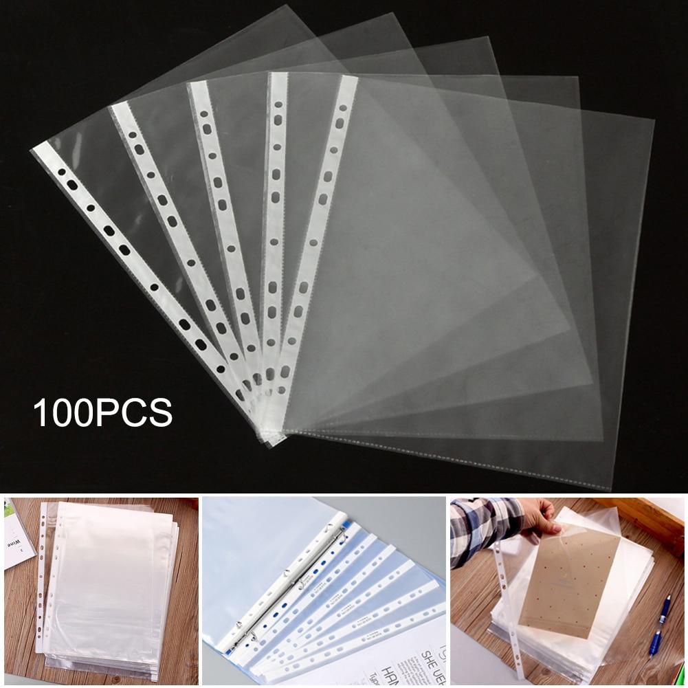 100Pcs/Set A4 Plastic Punched Pockets Folders Filing 11 Holes Loose Leaf Documents Sheet Protectors Transparent Folder Bag