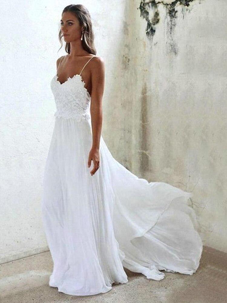 Bohemia Beach Wedding Dress 2020 Sexy Spaghetti Backless Bridal Wedding Dress White Lace Chiffon A Line Wedding Dress