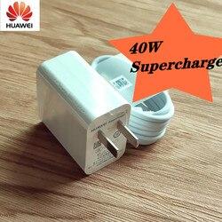 Oryginalna szybka ładowarka Huawei 40W Supercharge USB szybki adapter 5A typ C kabel do honoru 10 P20 P30 pro mate 20 30 w Ładowarki do telefonów komórkowych od Telefony komórkowe i telekomunikacja na