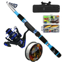 Fishing Kit with Telescopic Rod+Reel Combo Portable Box Lures Set For Travel Fishing|Rod Combo| |  -
