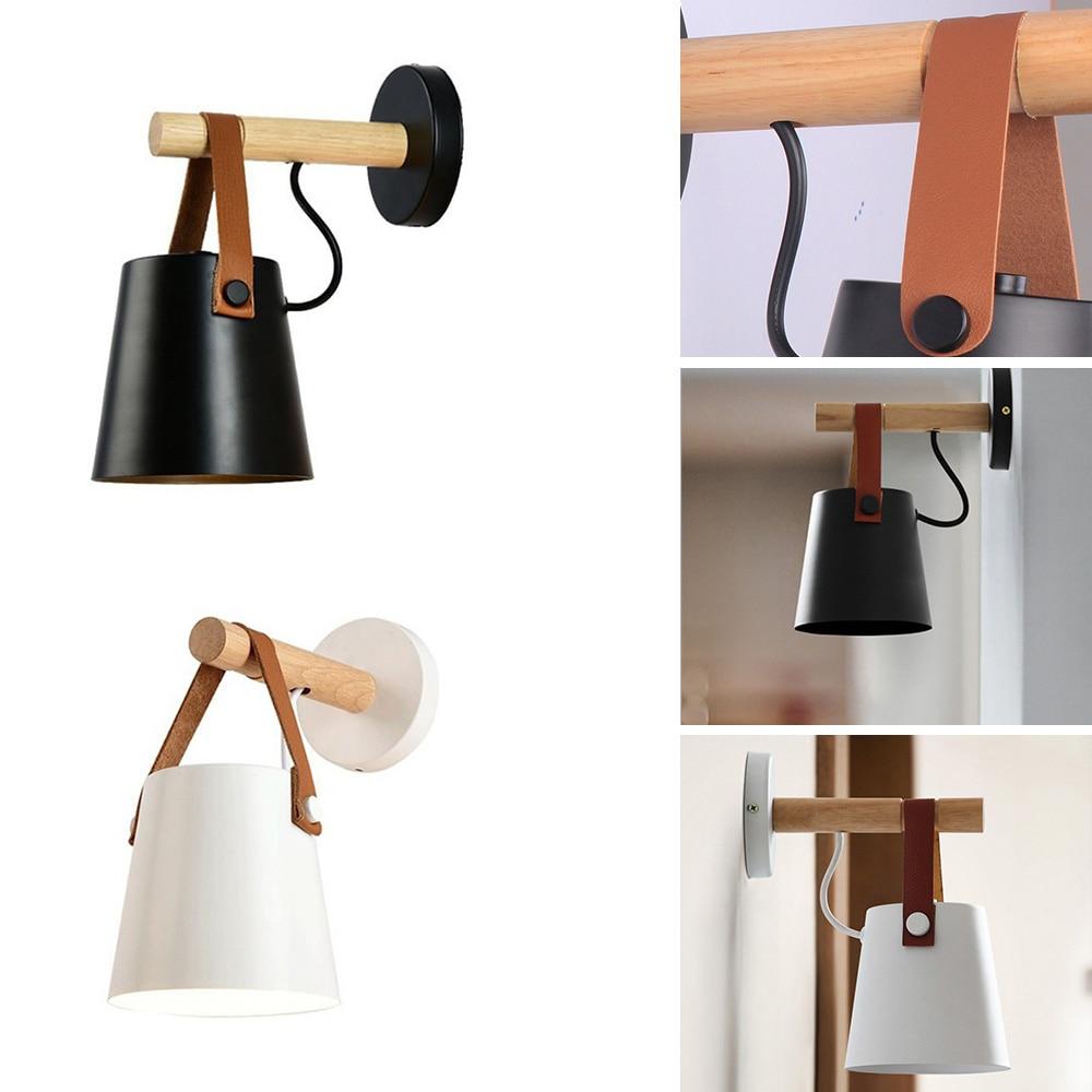 White Black Wood Wall Lamp Bedroom Bedside Decoration Designer Living Room Corridor Hotel Wall Lamps Hotel Corridor Nordic Style