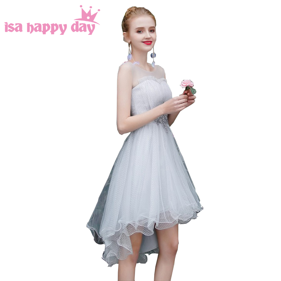 Sweet 16 Grey Bridesmaid Dress Short Front Long Back High Low Bridemaid Teens Dinner Party Dresses For Wedding Guest H4329