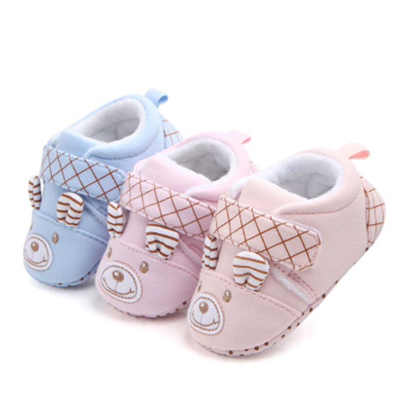Baby Shoes Adorable Infant First Walkers Keep Warm Toddler Crib Shoes Unisex Cute Cartoon Bear Anti-slip Prewalker Slippers