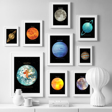 Earth Mars Moon Mercury Planet Wall Art Print Canvas Painting  Nordic Posters And Prints Pictures For Living Room