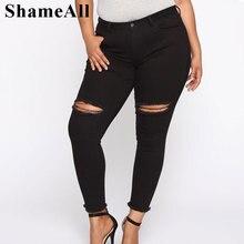 Long Jeans Pantalon Pencil-Pants Stretch Denim Trousers Spring-Ripped-Hole Skinny Black