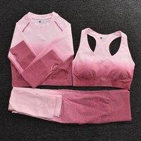 3pcsRed - Women's Sportwear Seamless Fitness Gradient Yoga Set