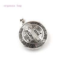 30pcs/lots Antique silver 3D Benedict Cross Dangle Charm Beads Fit necklace DIY Accessories 34x44mm A-553a