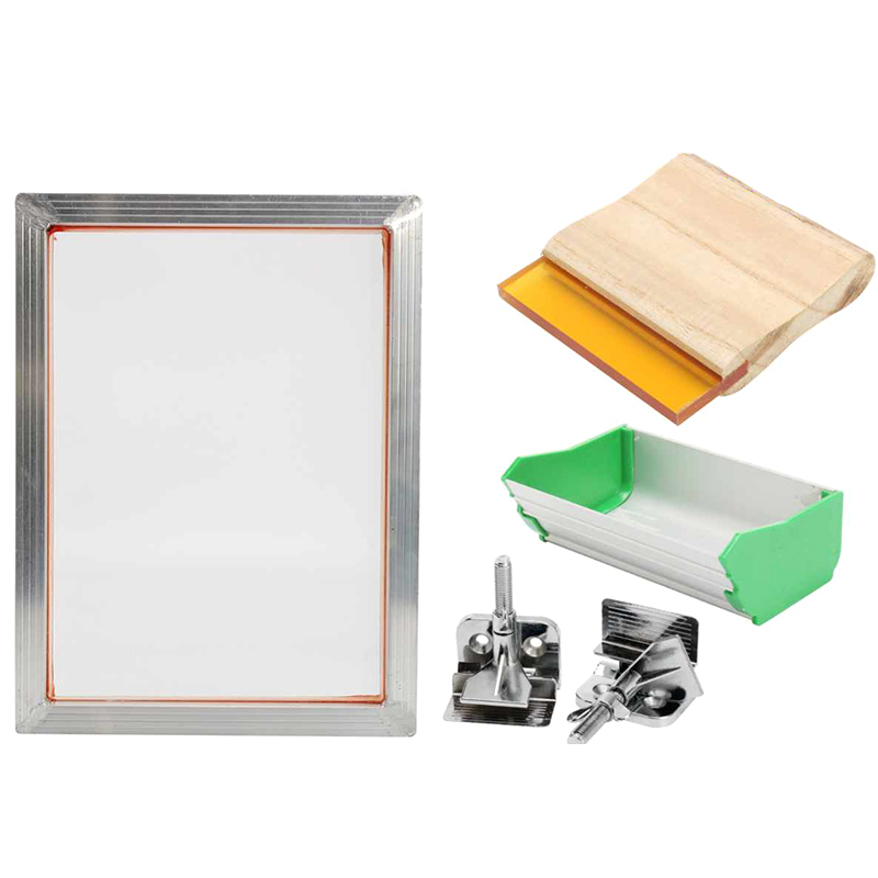 HHO-5Pcs/Set A5 Screen Printing Kit Aluminum Frame+Hinge Clamp+Emulsion Coater+Squeegee Screen Frame Printing Tool Parts