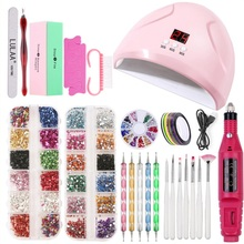 Nail Set 36W UV LED Lamp Dryer Manicure Tools polygel nail kit Painting Pen Brush For Art Pusher Kit 1
