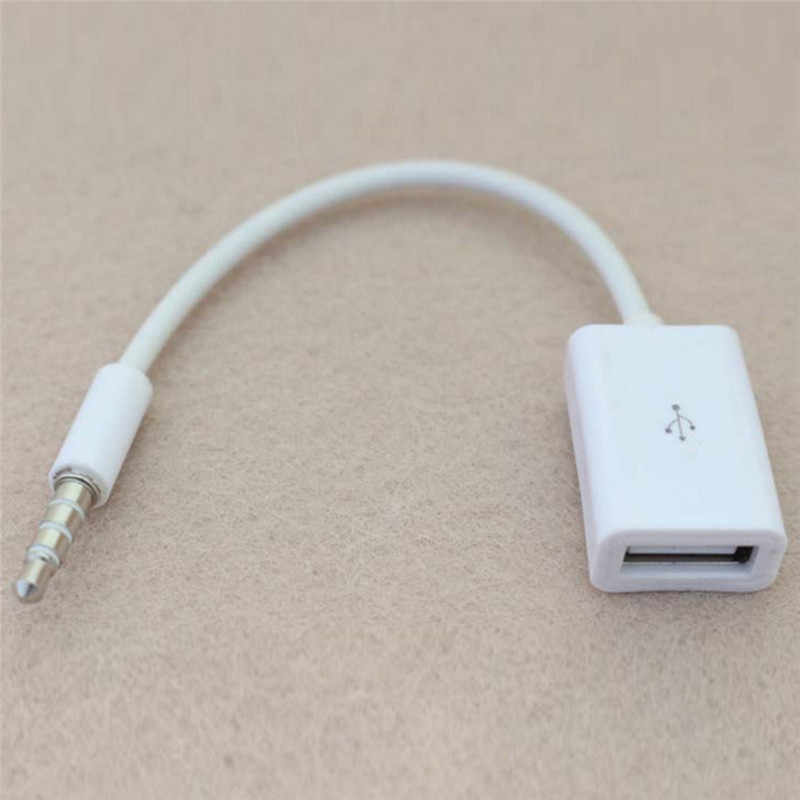 3.5 Mm MALE AUX Audio Plug Jack USB untuk USB 2.0 Female Converter Kabel Kabel Mobil MP3