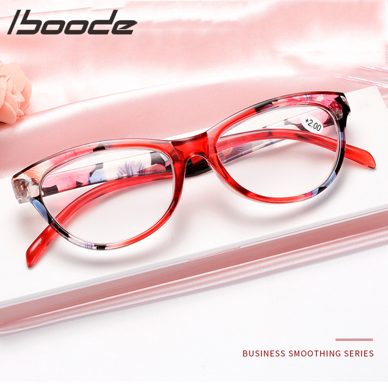 IBOODE Elegant Cat Eye Reading Glasses Women Floral Presbyopic Eyewear Male Magnifies Spectacles Female Hyperopia Eyeglasses Men