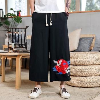Chińskie tradycyjne ubrania dla mężczyzn Kung Fu Wushu spodnie męskie lniane orientalne spodnie szerokie nogawki spodnie chińskie spodnie męskie 10684 tanie i dobre opinie Tangslady COTTON Suknem