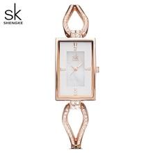 Shengke relojes de vestir para mujer, pulsera de esqueleto, esfera de diamante, con diamantes de imitación, 2020