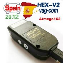 2021 mais novo hex v2 interface vagcom 21.3 vag com 20.12 para vw para audi skoda seat vag 20.4 espanha inglês diagnóstico do carro