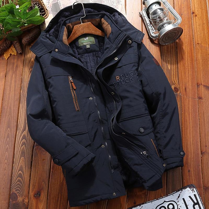 Winter Parka Men Windbreaker Fleece Thick Warm Fur Coats Male Military Hooded streetwear overcoats Men s