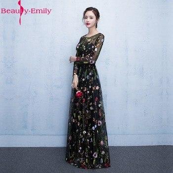Elegant Black Floral Long Sleeve Appliques Evening Dress  2019 Floor Length Zipper Back Illusion Formal Prom Dresses