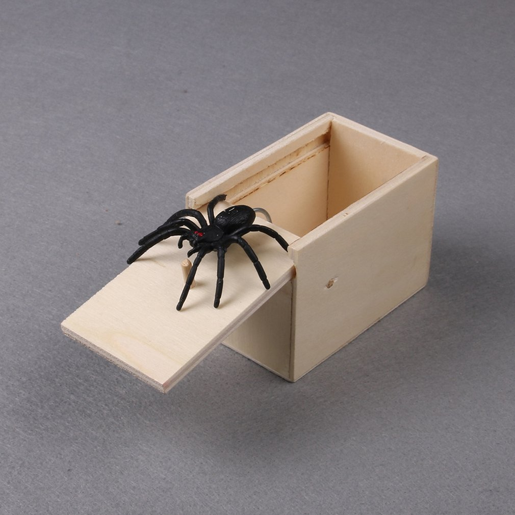 2PCS/1PCS Wooden Prank Spider Scare Box Prank Toy Surprise Animals Bite In Wooden Box Practical Funny Joke Surprise Gag Toy Gift