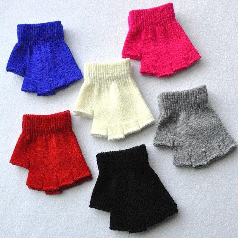 Детские перчатки, зимние теплые перчатки для маленьких мальчиков и девочек, детские варежки без пальцев, детские варежки с полупальцами для...
