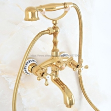 Tub Faucet Bathtub Handshower Wall-Mounted Spout Gold with Swive-Tub Nna806 Telephone-Style