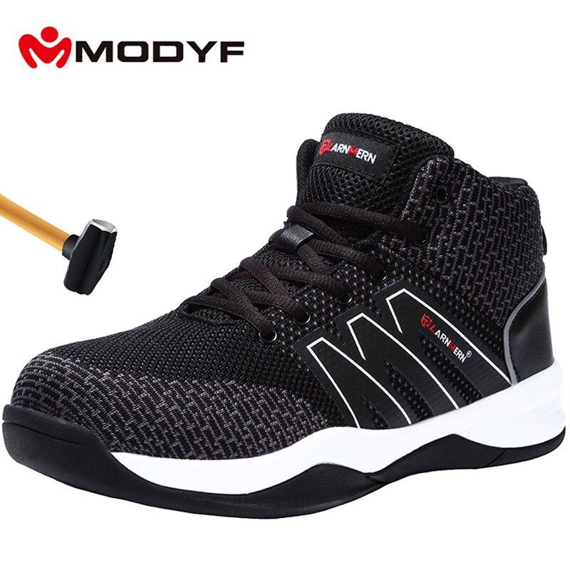 MODYF Mens Stalen Neus Veiligheid Werk Schoenen Voor Mannen Flyknit Ademend Lichtgewicht Anti smashing antislip Reflecterende Beschermende laarzen-in Werk en veiligheidslaarzen van Schoenen op  Groep 1
