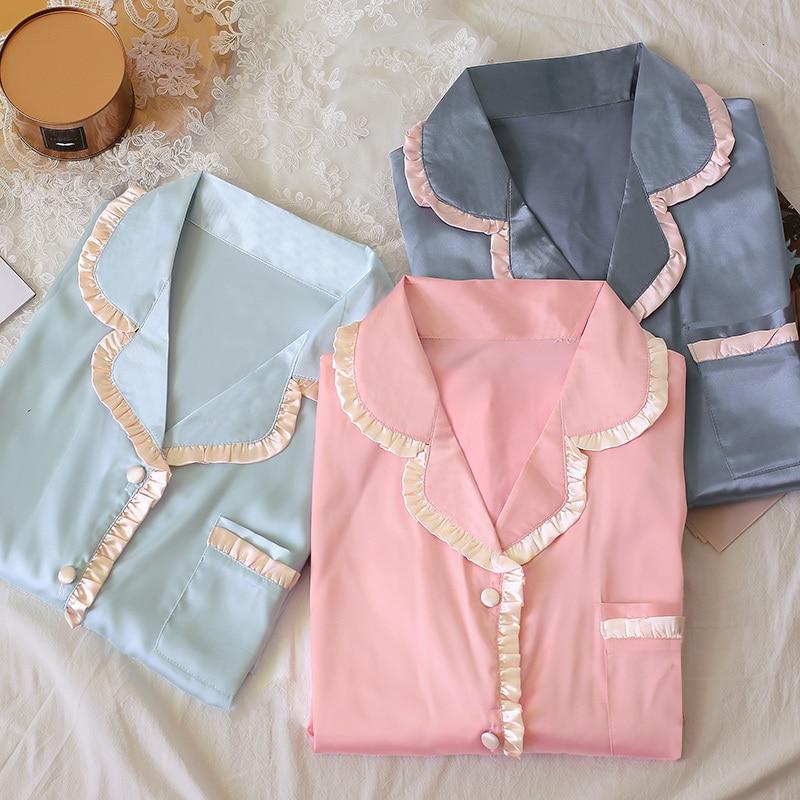 QWEEK Silk Pajamas Homewear Casual Pijama Mujer Long Sleeve Pyjama Femme Lounge Wear 2 Piece Set Women Sleepwear Nightie