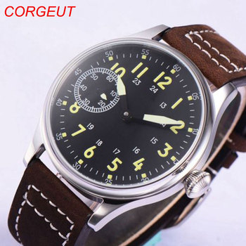 44mm Corgeut Sterile Black Dial 17 Jewels 6497 Hand Winding Movement men's Wristwatches 44mm parnis off white dial rose golden plated hands brown leather strap 6497 movement leather strap hand winding men s watch