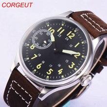 44mm Corgeut sterylna czarna tarcza 17 klejnotów 6497 ręczne nakręcanie męskie zegarki na rękę